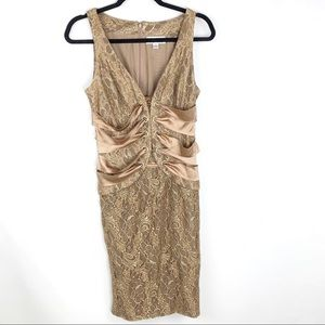 CHETTA B gold lace and satin deep v cocktail dress